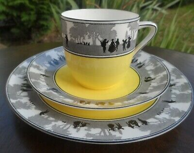 Vintage FOLEY CHINA Yellow Silhouette Pretty TRIO Cup Saucer Sandwich Plate • 18.99£