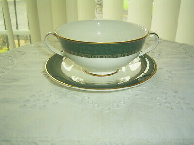 St Michael M&s Pemberton Green Bone China Soup Bowl & Saucer First Quality • 6.99£