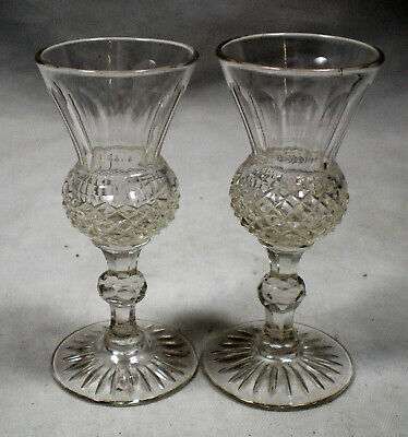 A Pair Of Crystal Thistle Shaped Dram Glasses, English C.1910 • 4.99£
