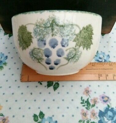 Pottery Hand-painted Bowl Grapes & Leaves Design By Pool A Scratch On Side.  • 2£