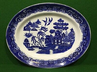 Vintage Blue & White China Doulton Willow Pattern Meat Dish • 14.50£