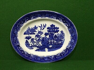 Vintage Blue & White China Doulton Willow Pattern Meat Dish • 9.95£