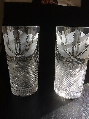 Matched Pair Of Edinburgh Crystal Thistle Highball Glasses With Etched Base • 195£