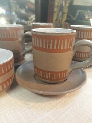 Wellhouse Pottery 4 Mugs And Saucers With Sugar Bowl • 15£
