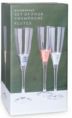 BNIB Oliver Bonas Set Of Four Champagne Flutes Hand Crafted. RRP £32 • 19£
