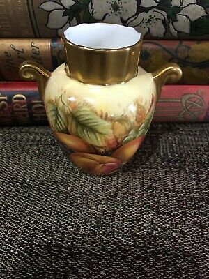 Beautiful Aynsley Orchard Gold Small Twin Handled Vase 3 1/4 • 6£