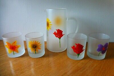 Dartington Design Set Of Four Frosted Lemonade / Water Glasses And Matching Jug • 20£