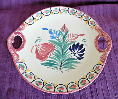Vintage Handpainted Quimper Twin Handle Platter - Conjoined HB + Tail - Vgc • 9.99£