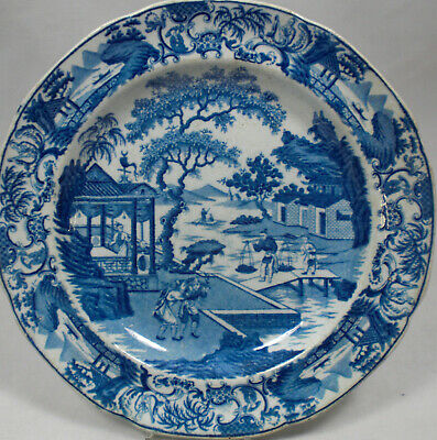 A Blue Printed  Plate 'Chinese Traders' Stevenson, English C.1815 • 29.99£