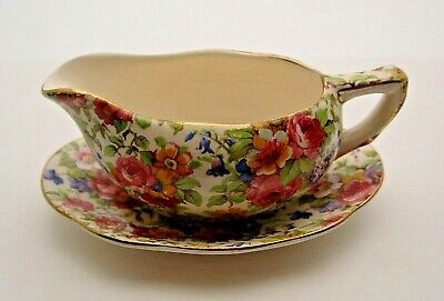 ROYAL WINTON GRIMWADES GRAVY BOAT & STAND IN SUMMERTIME C.1930's - PERFECT • 14.99£