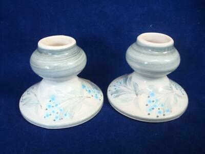 JERSEY POTTERY ORIGINAL VINTAGE SMALL CANDLESTICK HOLDERS X 2  -EXCELLENT • 5£