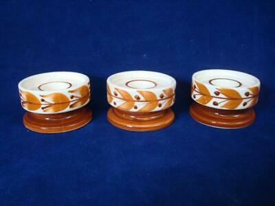 JERSEY POTTERY ORIGINAL VINTAGE SMALL CANDLESTICK HOLDERS X 3  -EXCELLENT • 9£