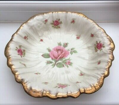 Vintage CROWN DUCAL Ware Floral Dish 24 Cm. Pink/Cream • 17.99£