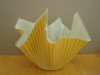 Vintage Chance Mustard And White Stripe Glass Handkerchief Vase Approx 7   Tall • 35£