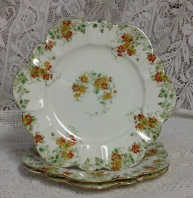 Charles Wileman C1893, Three Daisy Shaped Tea Plates • 15£