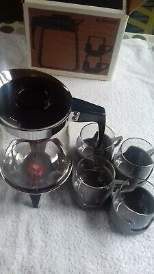 Boxed And Unused Retro Pyrex Coffee Jug, Cups Complete With Candle Warmer Stand • 7.40£