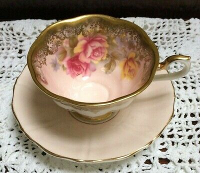 Royal Albert ~ Portrait Series ~ Cabinet Cup & Saucer ~ Pink & Gold ~ Mis-match • 5.19£