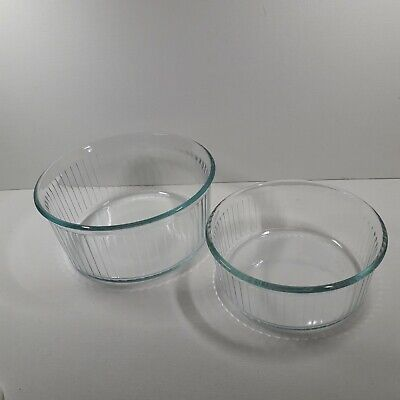 2 X Pyrex France Clear Glass Ribbed Souffle Dishes 15 And 18 Cm  Diameter • 8.99£