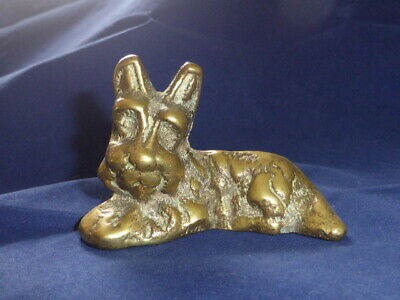 Charming Vintage Brass Sleepy Puppy Dog Figurine, C1950 • 0.99£