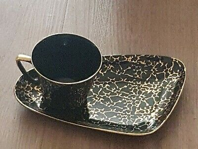 Choozier Poland  Art Deco Cup And Side Plate Black And Gold. • 4.20£