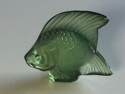 Vintage Lalique Crystal Green Fish Signed Lalique France Excellent Condition  • 30£