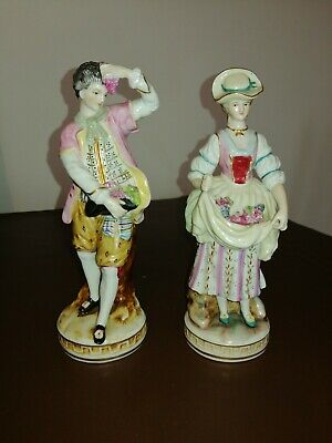 Pair Of Continental Porcelain Figurines, Lady & Gent Selling Grapes • 25£