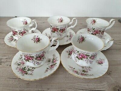 Royal Albert Lavender Rose English Bone China Coffee Cups & Saucers X 5 • 10£