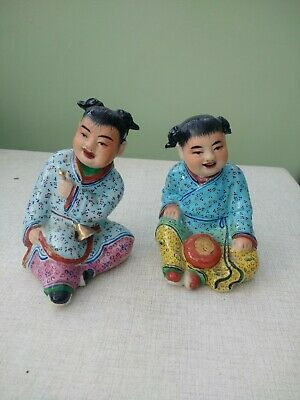 2 X Oriental Possibly JAPANESE Ornaments Of Musicians • 4.99£