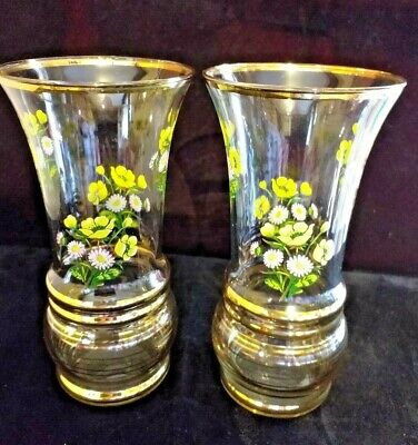 Pair Of Lemonade Glasses Decorated With Flowers • 15£