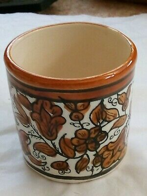 Small Unusual Brown Leaf Pattern Pottery Container. No Damage No Makers Mark • 3£