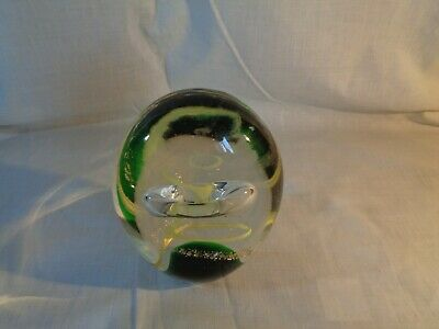 Heavy Paperweight Clear With Green, Yellow And Gold Design • 3£
