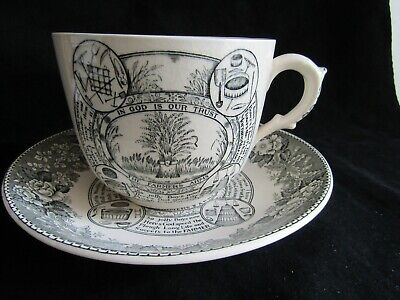 Vintage Adams The Farmers Arms Jumbo Breakfast Cup Saucer Farming Country • 13.50£