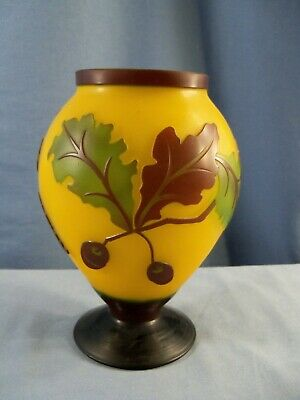 Galle Style Repro Yellow Cameo Glass Vase W/ Oak Leaves Acorns Design • 18.46£