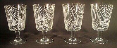 Set Of 4 Chance Brothers Large Wine Glasses (5.25 ) - Swirl Design • 17.50£