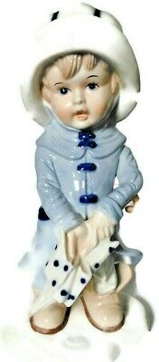 Ceramic Pottery Figure Boy With Umbrella And Rain Coat 10  Tall Marked M Or W • 13.13£