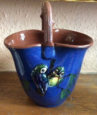 Torquay Ware China Basket & Handle With Parrots In Relief • 15£