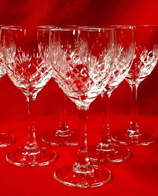 5 English Clear Cut Crystal, Wine Glasses, Vintage Folded Foot, Height 6  • 15£