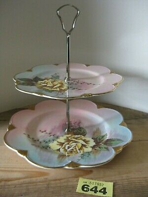 Royal Winton Grimwades Pink Yellow Luster Double Tier Cake Stand Plates Roses  • 18.99£
