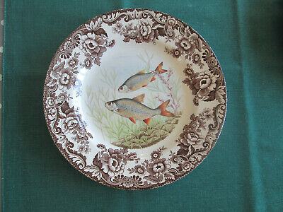 Spode Woodland Stream Fish Roach Large Dinner Plate New • 35£