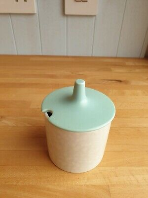 Vintage Poole Pottery Twintone Ice Green And Seagull Lidded Sugar Bowl/jam Pot • 5£