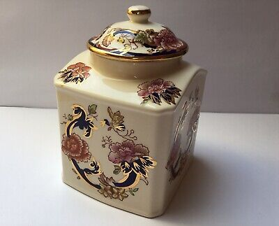 Masons Ironstone Blue Mandalay Ginger Jar/Lidded Tea Caddy • 10.50£