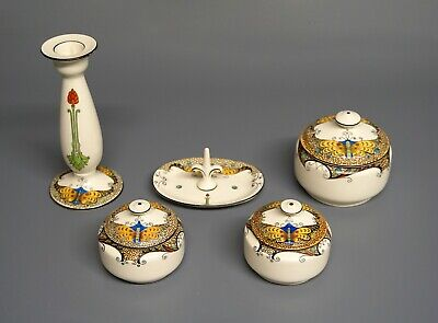 RARE Art Deco Crown Ducal Ware - Butterflies - Dressing Table Set - A1339 • 89.99£
