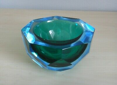 Vintage Murano Italian Faceted Glass Bowl • 11.50£
