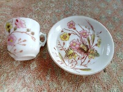 Pretty Miniature China Cup And Saucer Floral Decoration. Some Signs Of Age /use • 2£