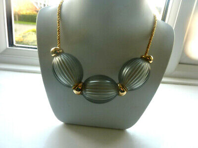 Fabulous Lalique Light Grey Nerita Necklace New In Box • 275£