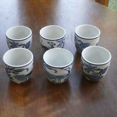 Group Of 6 Antique Wood & Sons Blue & White Yuan Egg Cups • 24.99£
