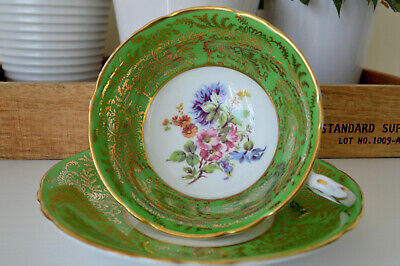 Rare Vintage Paragon Fine Bone China Cup & Saucer Green Gold Flowers • 34.99£