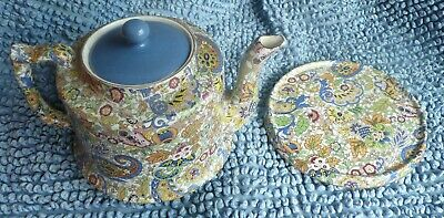 Lovely Multicolour Chintz Teapot & Stand Vintage C1950's Afternoon Tea 306 • 27.99£