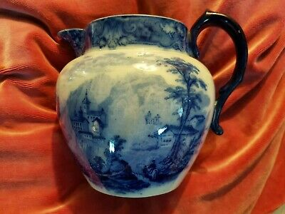 * Royal Doulton Flow Blue Jug ' Geneva 'c1900 • 49£