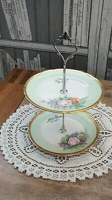Small Cake Biscuit Tidbit Tray 2 Tier Vintage China Tea Party Wedding Roses D • 6.99£